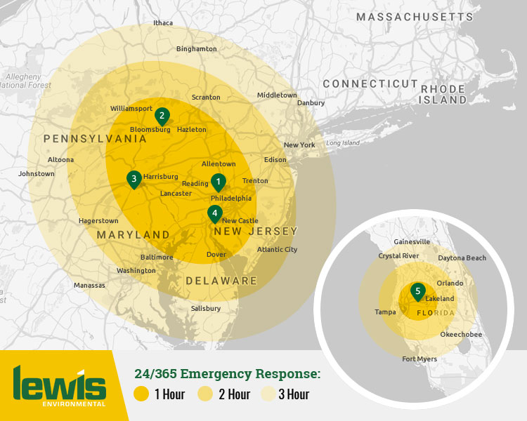 24 hour 365-day Emergency Disaster, Spill and Environmental Incident Response in Pennsylvania, New Jersey, New York, Maryland, Delaware, Connecticut and Florida